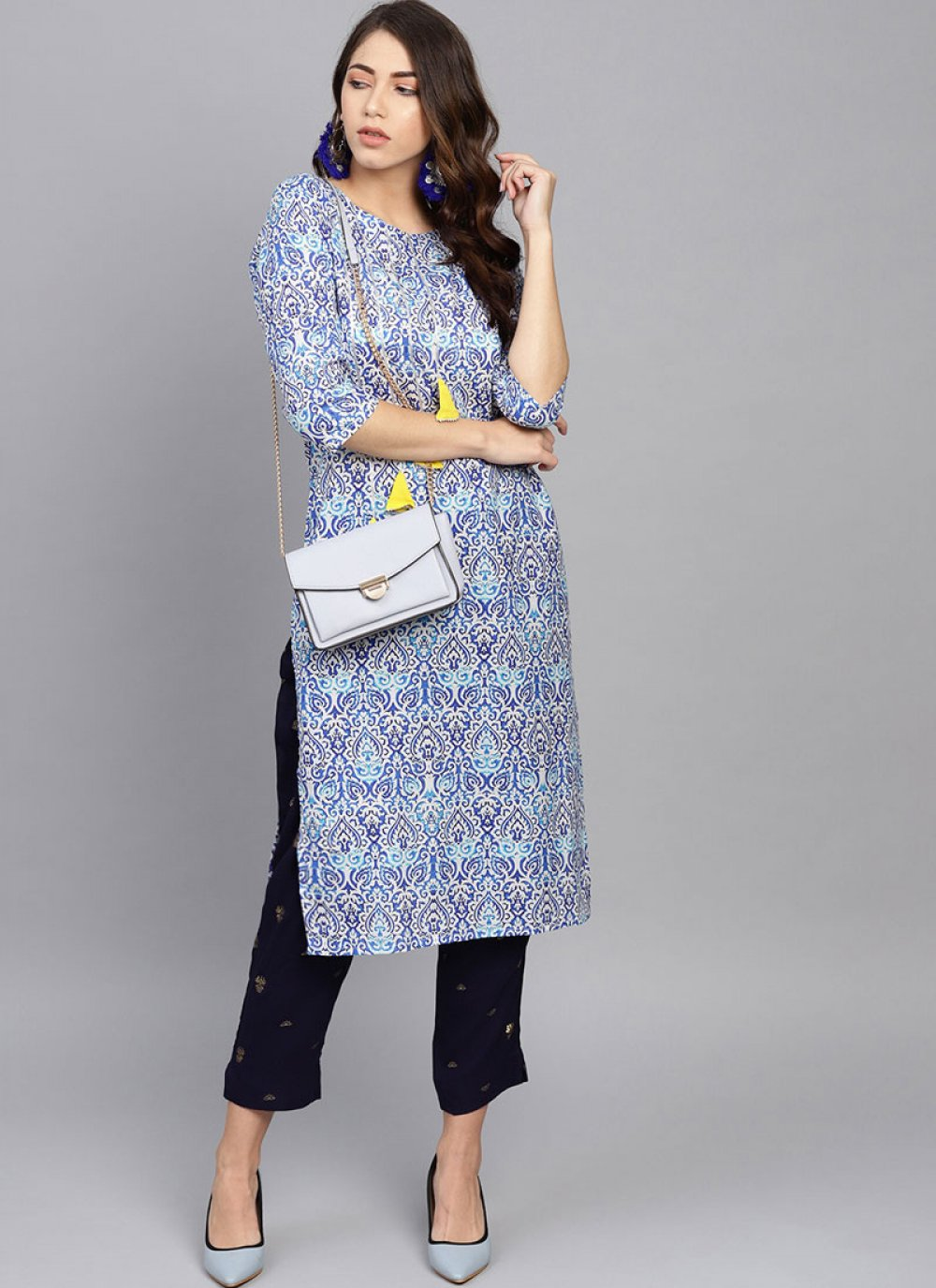 Aqua Blue Ceremonial Cotton Casual Kurti