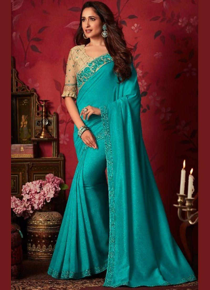 Aqua Blue Color Classic Saree