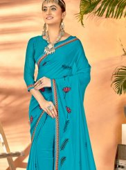 Aqua Blue Color Traditional Saree