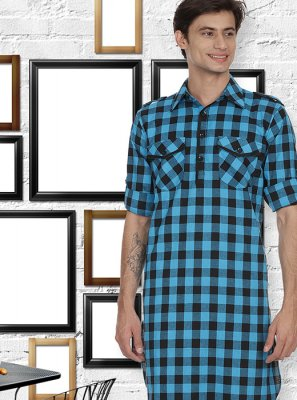 Aqua Blue Cotton Kurta Pyjama