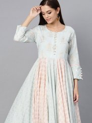 Aqua Blue Cotton Party Wear Kurti