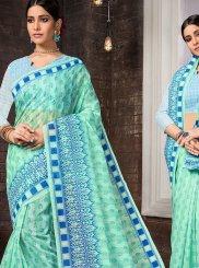 Aqua Blue Cotton Printed Casual Saree