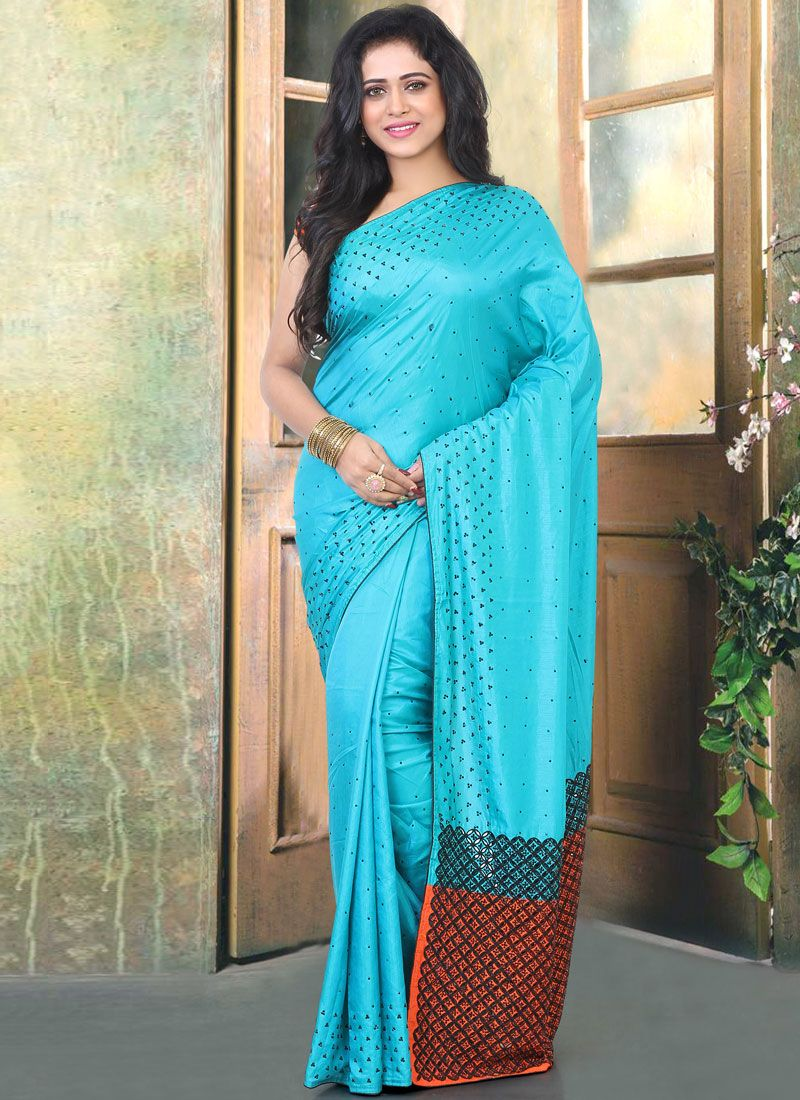 Aqua Blue Cutwork Reception Traditional Designer Saree