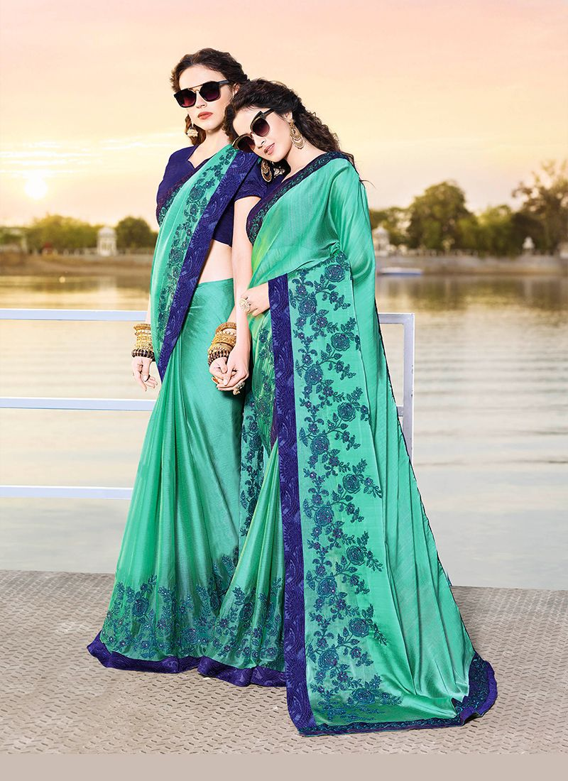 Aqua Blue Designer Traditional Saree