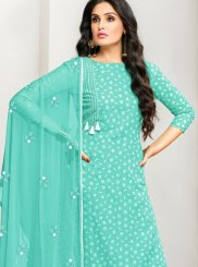 Aqua Blue Embroidered Designer Pakistani Suit
