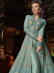 Aqua Blue Embroidered Net Pant Style Suit