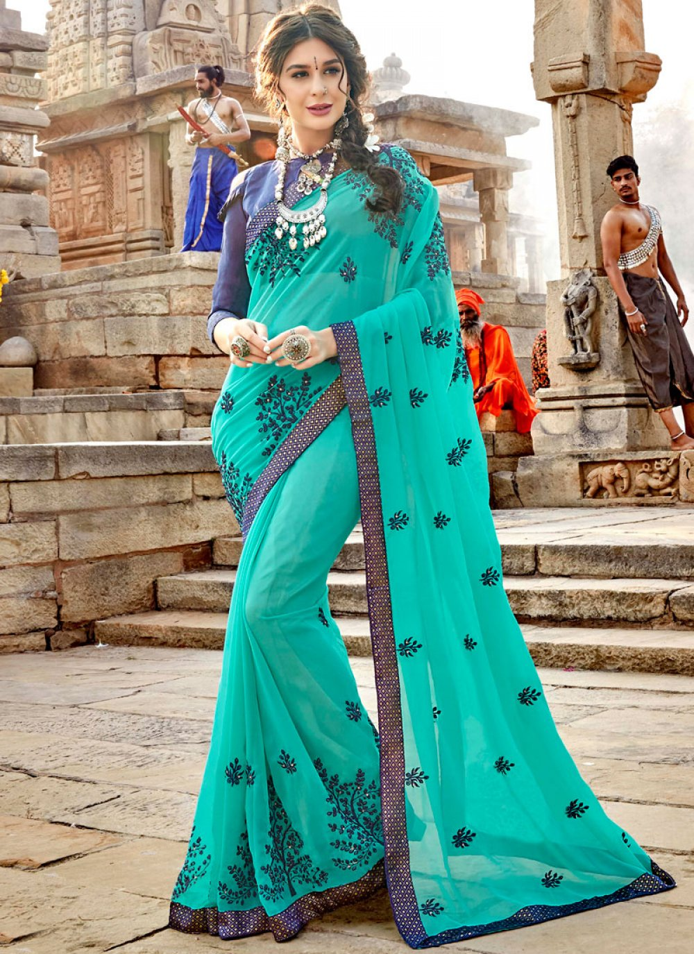 Aqua Blue Festival Casual Saree