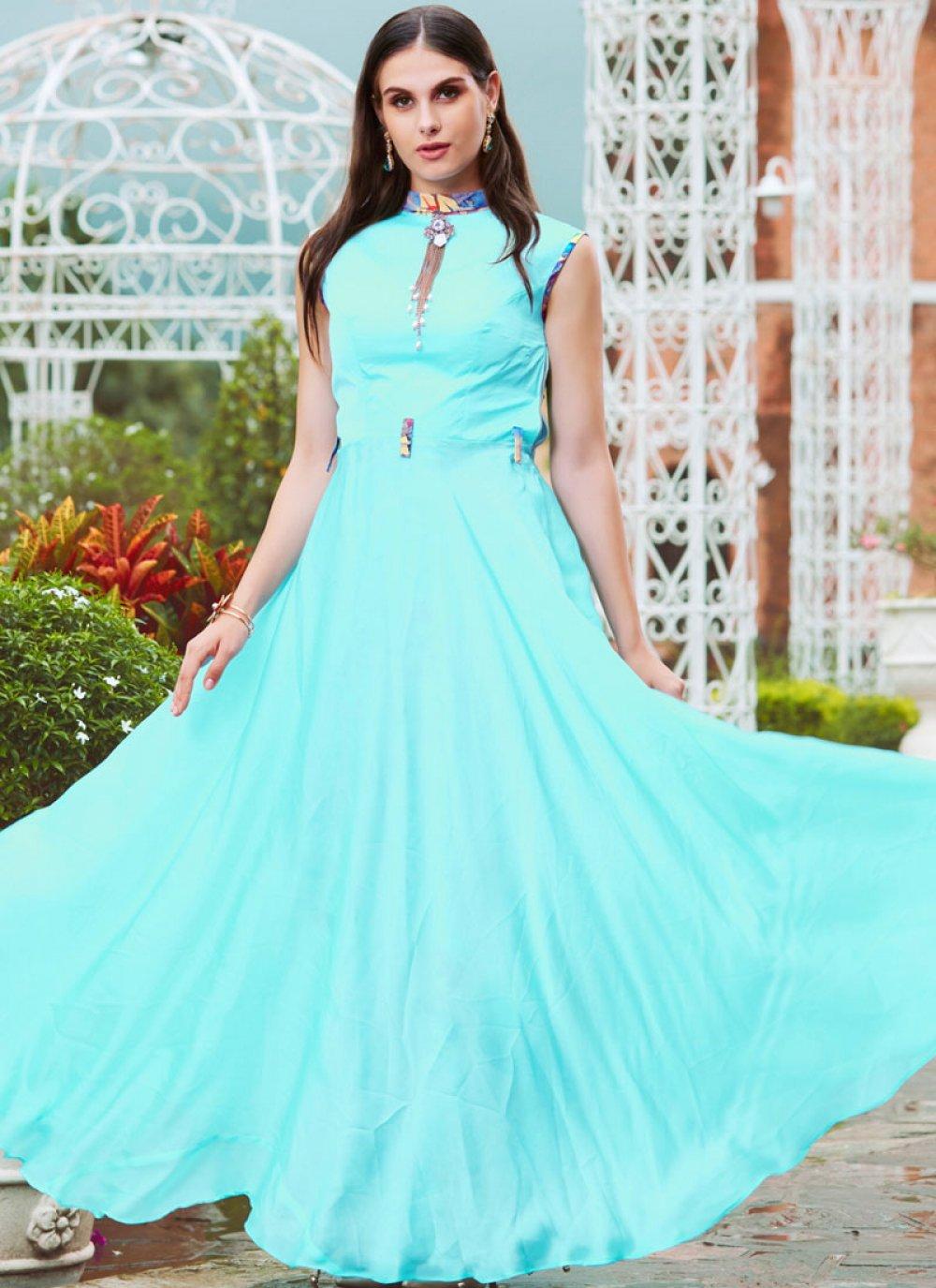 Aqua Blue Festival Satin Readymade Gown