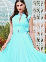Aqua Blue Festival Satin Readymade Gown