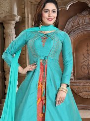 Aqua Blue Handwork Silk Readymade Lehenga Choli