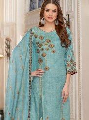 Aqua Blue Jacquard Trendy Palazzo Salwar Suit