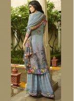 Aqua Blue Mehndi Palazzo Salwar Suit