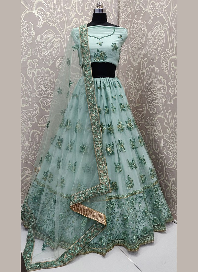 Aqua Blue Patch Border Net Lehenga Choli