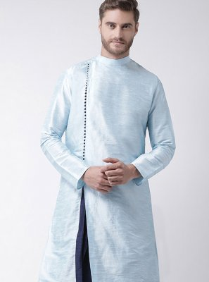 Aqua Blue Plain Sangeet Kurta Pyjama