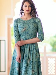 Aqua Blue Print Party Wear Kurti