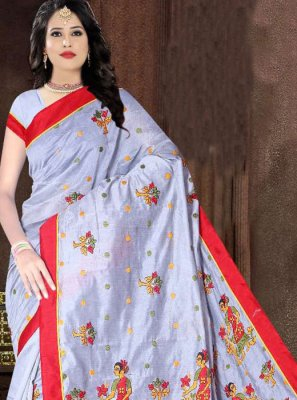 Aqua Blue Printed Poly Cotton Printed Saree