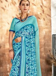 Aqua Blue Printed Printed Saree