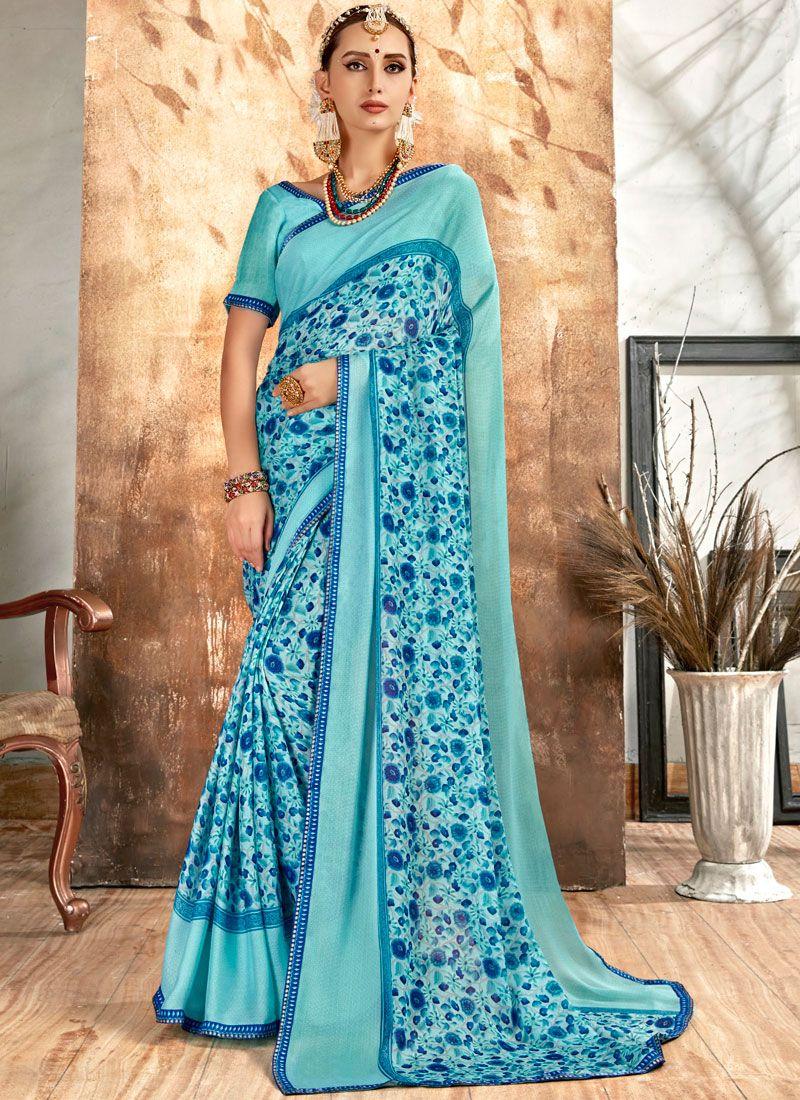 Aqua Blue Printed Printed Saree