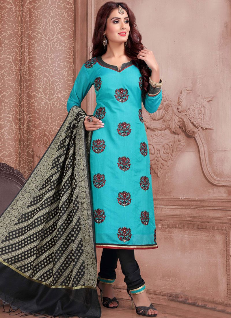 Aqua Blue Resham Churidar Designer Suit