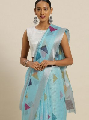 Aqua Blue Silk Printed Casual Saree