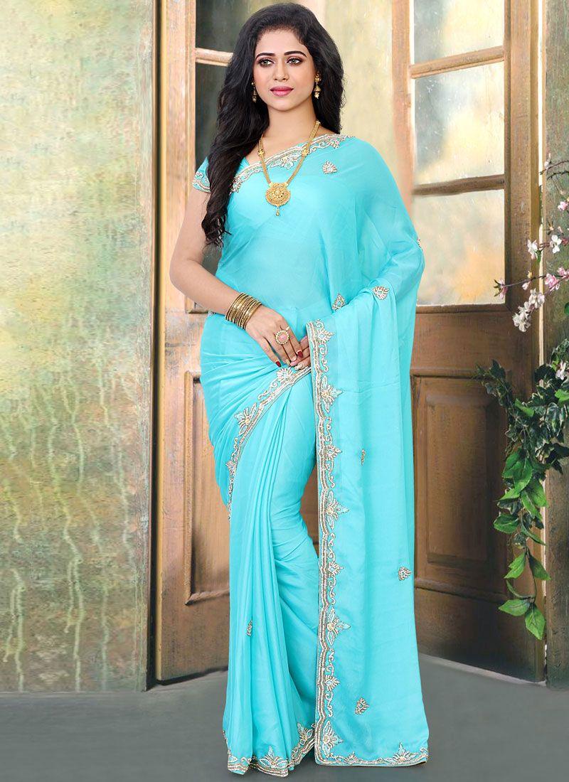 Aqua Blue Silk Reception Designer Traditional Saree