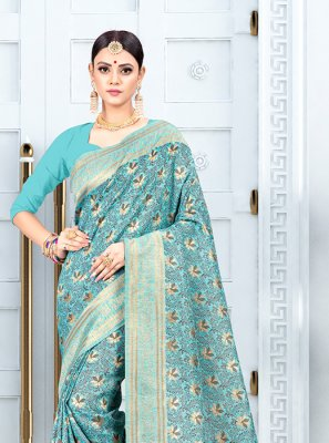 Aqua Blue Weaving Silk Traditional Saree