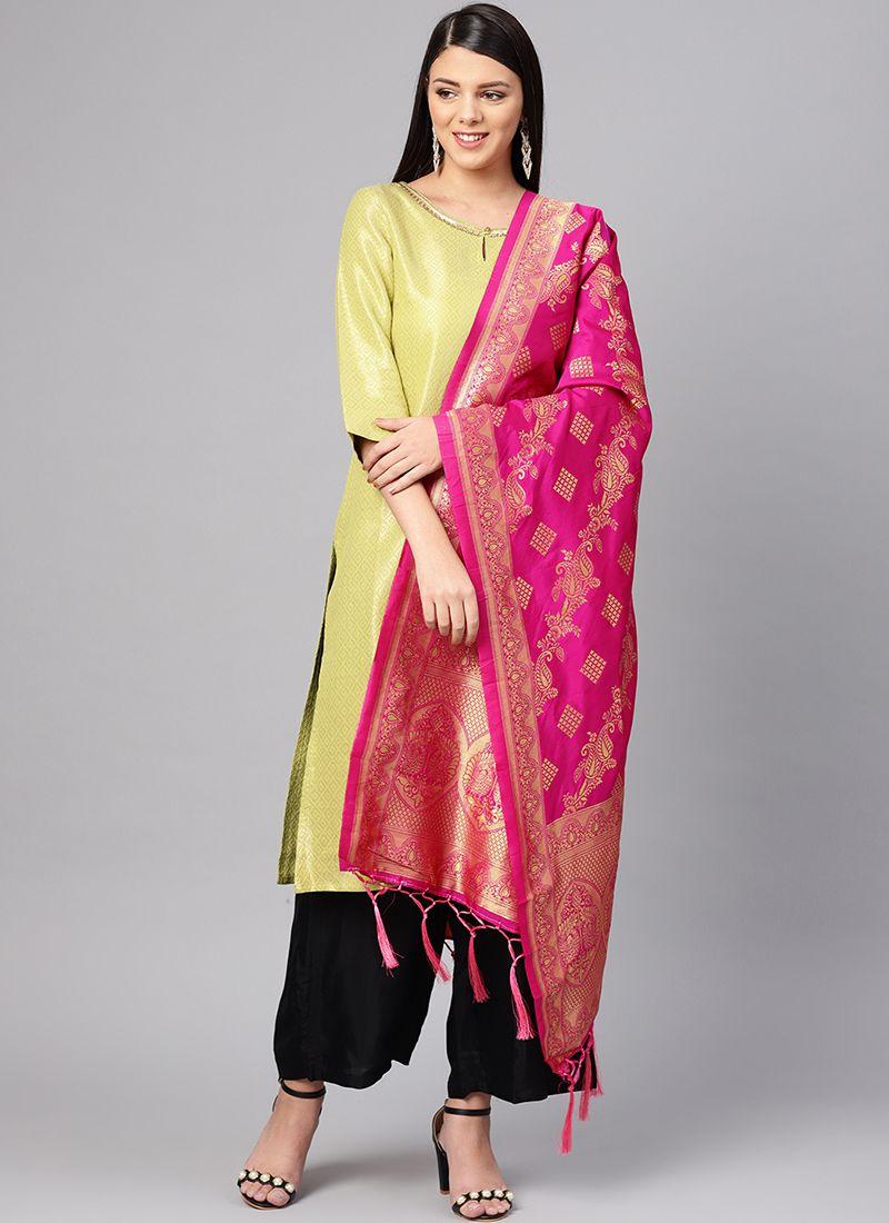 Art Banarasi Silk Aqua Blue and Pink Machine Embroidery  Designer Dupatta