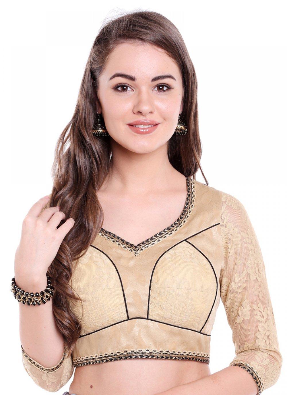 Art Banarasi Silk Beige Plain Designer Blouse