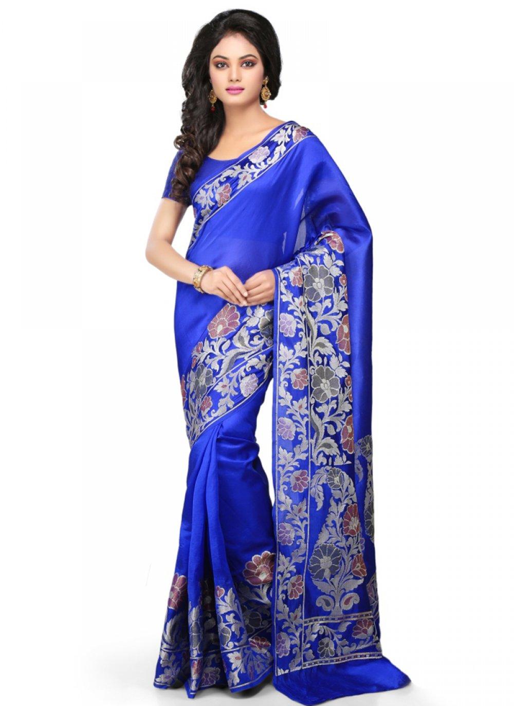 Art Banarasi Silk Blue Designer Traditional Saree