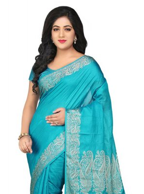 Art Banarasi Silk Blue Thread Work Designer Traditional Saree