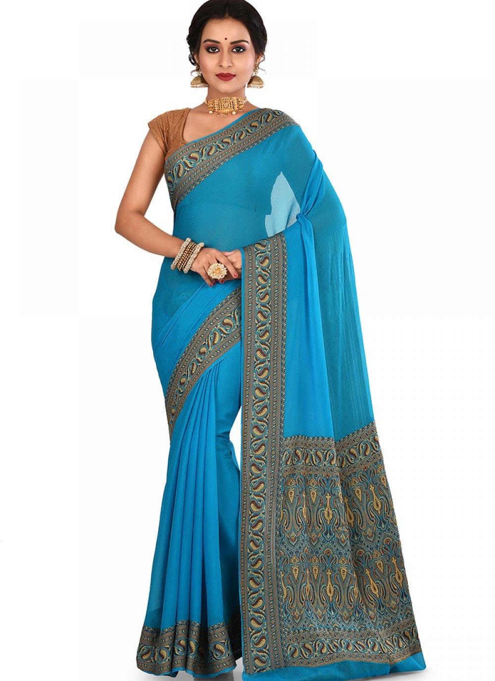 Art Banarasi Silk Blue Weaving Designer Traditional Saree