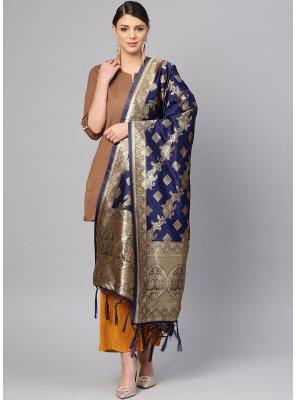 Art Banarasi Silk Designer Dupatta in Blue