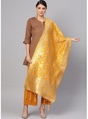 Art Banarasi Silk Designer Dupatta in Yellow