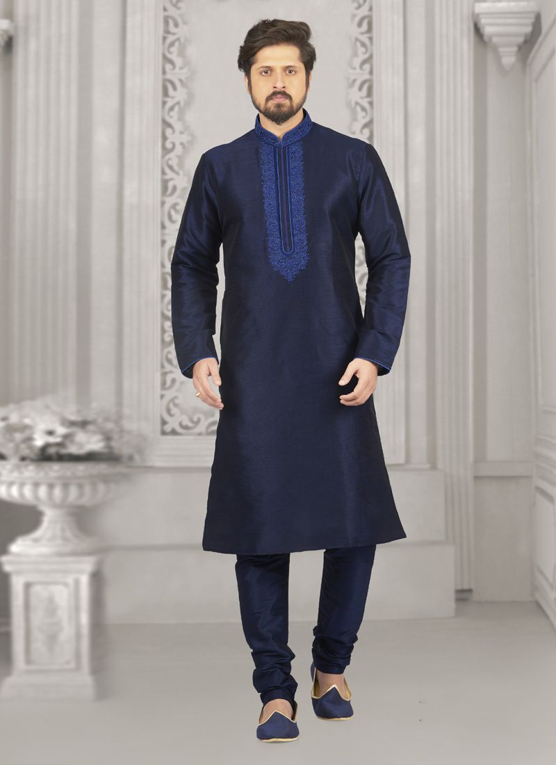 Art Banarasi Silk Embroidered Blue Kurta Pyjama