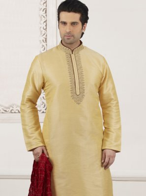 Art Banarasi Silk Embroidered Cream Kurta Pyjama