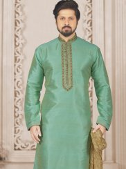 Art Banarasi Silk Embroidered Green Kurta Pyjama