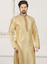 Art Banarasi Silk Embroidered Kurta Pyjama in Cream