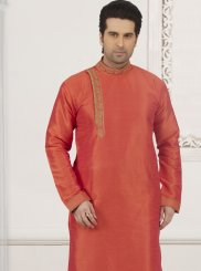 Art Banarasi Silk Embroidered Kurta Pyjama in Orange