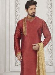 Art Banarasi Silk Embroidered Kurta Pyjama in Rust