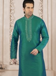 Art Banarasi Silk Embroidered Kurta Pyjama in Teal