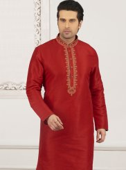Art Banarasi Silk Embroidered Red Kurta Pyjama