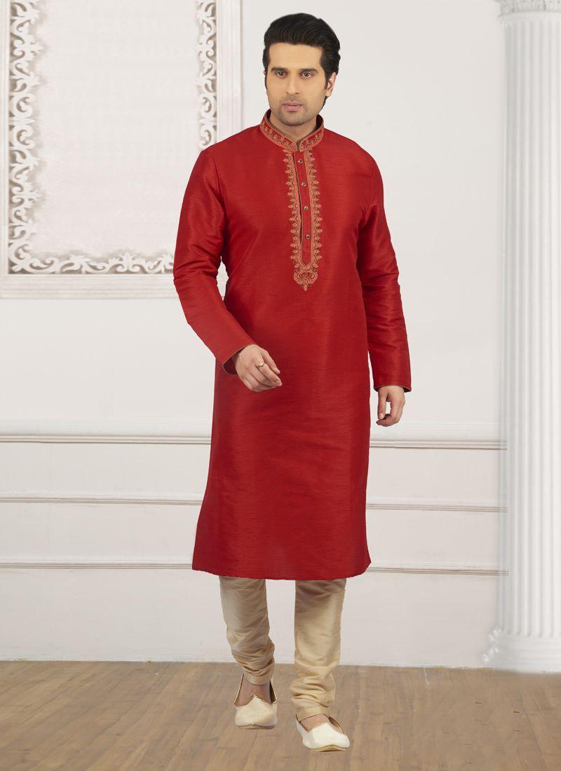 Art Banarasi Silk Embroidered Red Kurta Pyjama