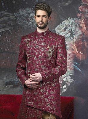 Art Banarasi Silk Embroidered Wine Indo Western
