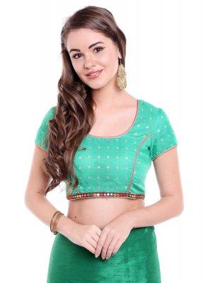 Art Banarasi Silk Green Designer Blouse