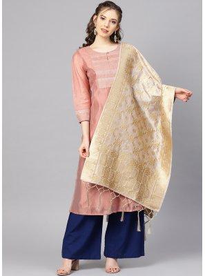 Art Banarasi Silk Grey Designer Dupatta