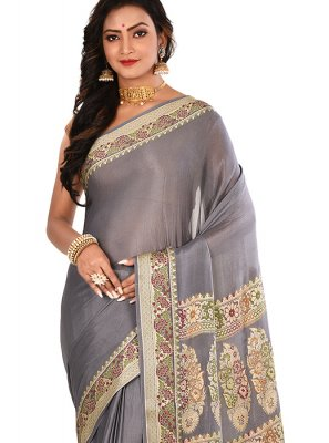Art Banarasi Silk Grey Weaving Designer Traditional Saree