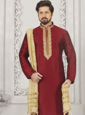 Art Banarasi Silk Kurta Pyjama in Maroon