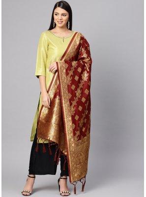Art Banarasi Silk Maroon Stone Work Designer Dupatta