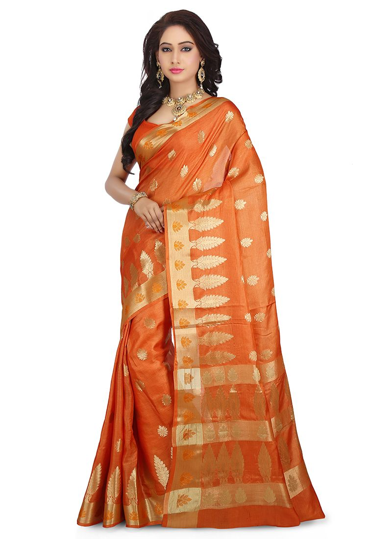 Art Banarasi Silk Orange Weaving Designer Traditional Saree