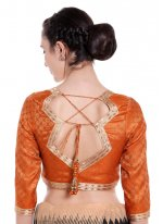 Art Banarasi Silk Plain Gold Designer Blouse